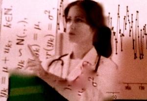 Nurse chart behind her pink